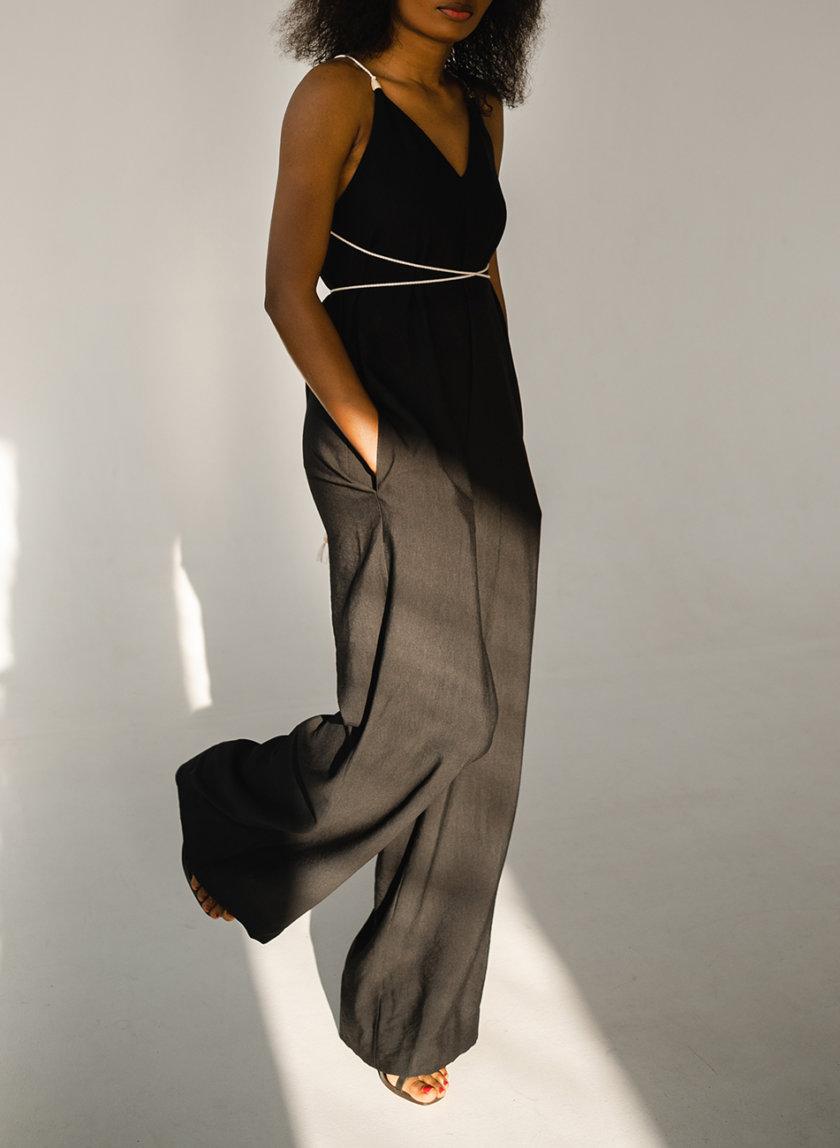 Комбинезон с широкими брюками SHE_overalls_black, фото 1 - в интернет магазине KAPSULA