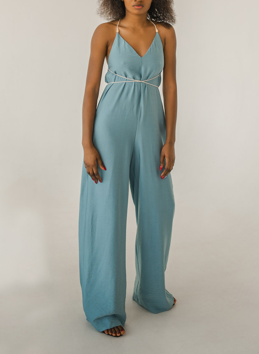 Комбинезон с широкими брюками SHE_overalls_blue, фото 1 - в интернет магазине KAPSULA