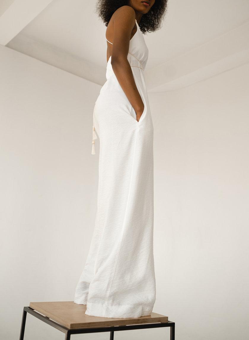 Комбинезон с широкими брюками SHE_overalls_white, фото 1 - в интернет магазине KAPSULA