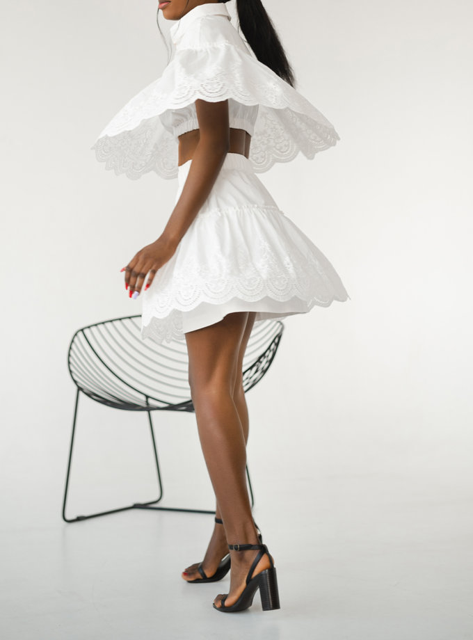 Юбка мини с кружевом SHE_skirt_mini_milk, фото 1 - в интернет магазине KAPSULA