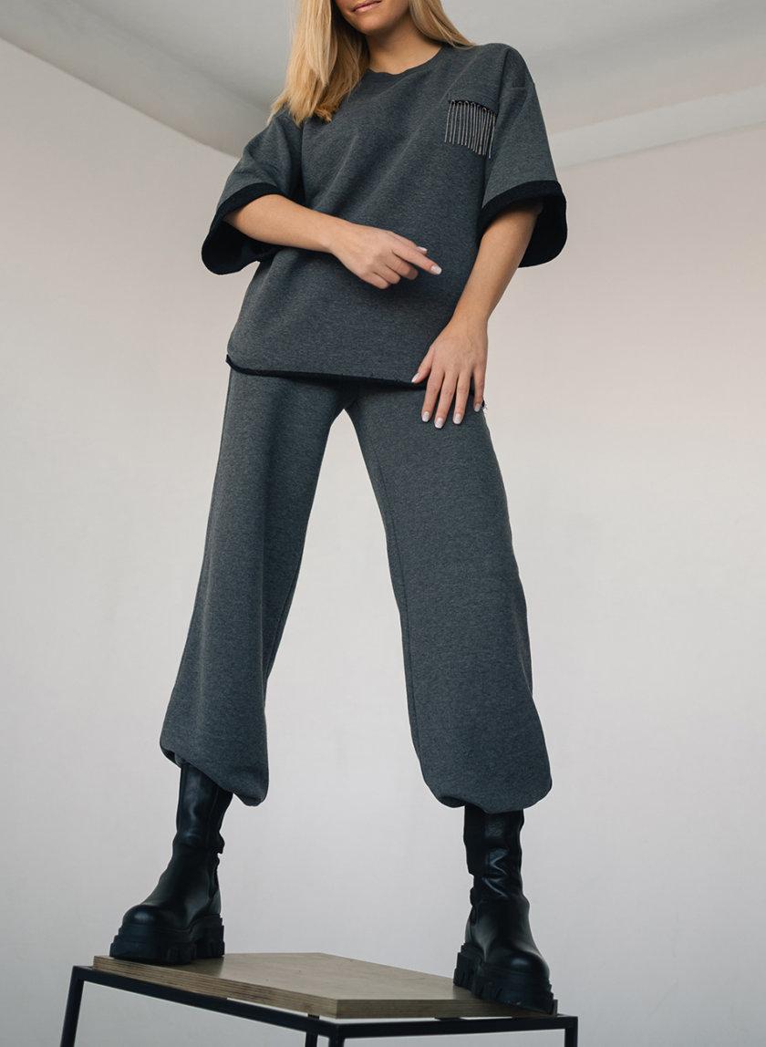 Хлопковый костюм с брюками на резинке SHE_sports_suit_gray, фото 1 - в интернет магазине KAPSULA