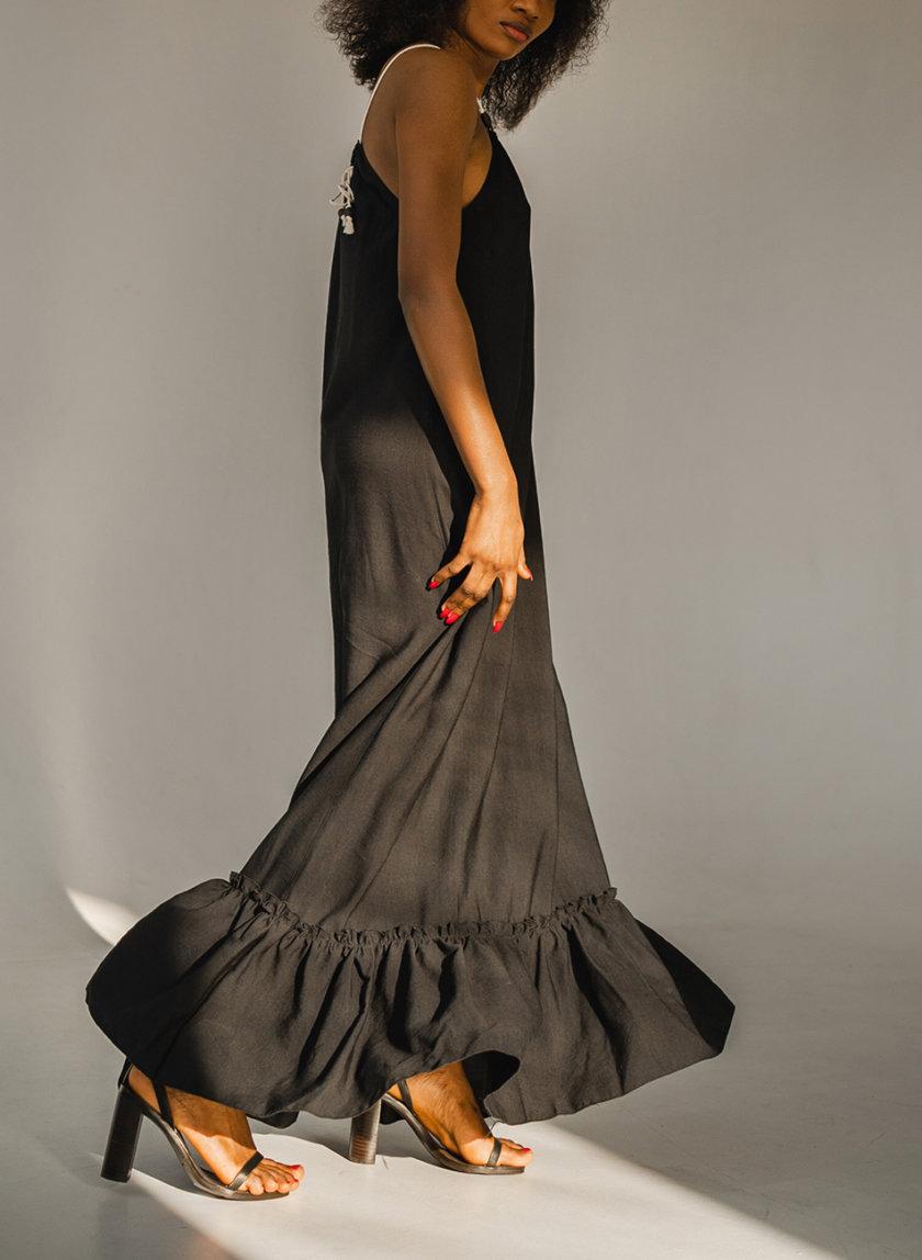 Хлопковый сарафан свободного кроя SHE_sundress_black, фото 1 - в интернет магазине KAPSULA