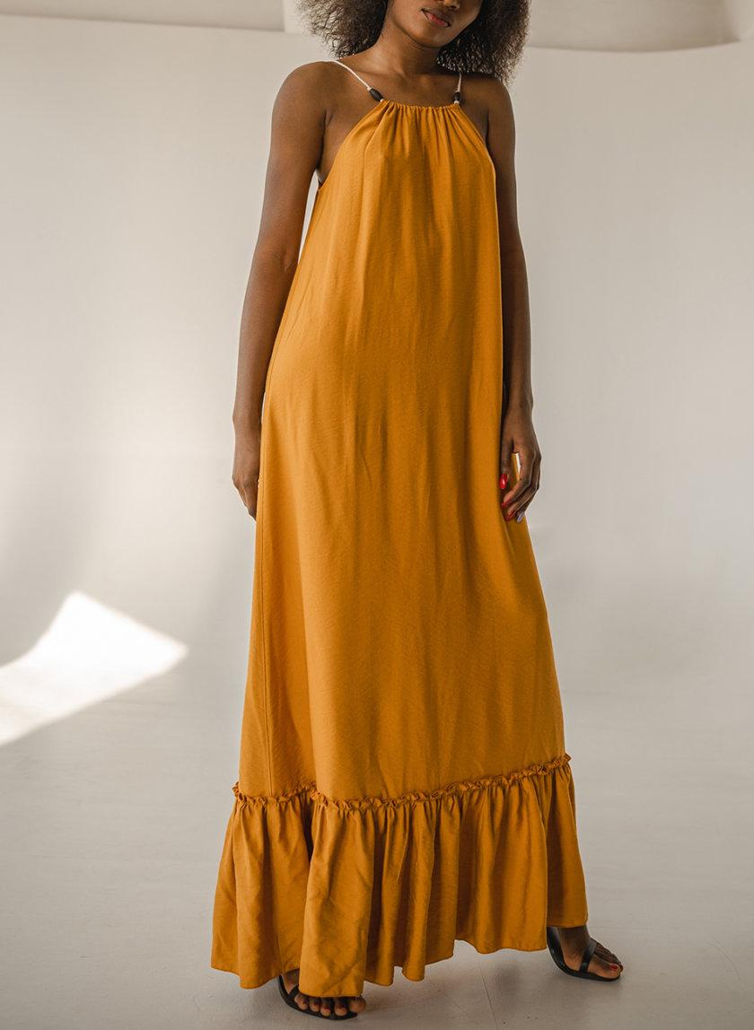 Хлопковый сарафан свободного кроя SHE_sundress_yellow, фото 1 - в интернет магазине KAPSULA