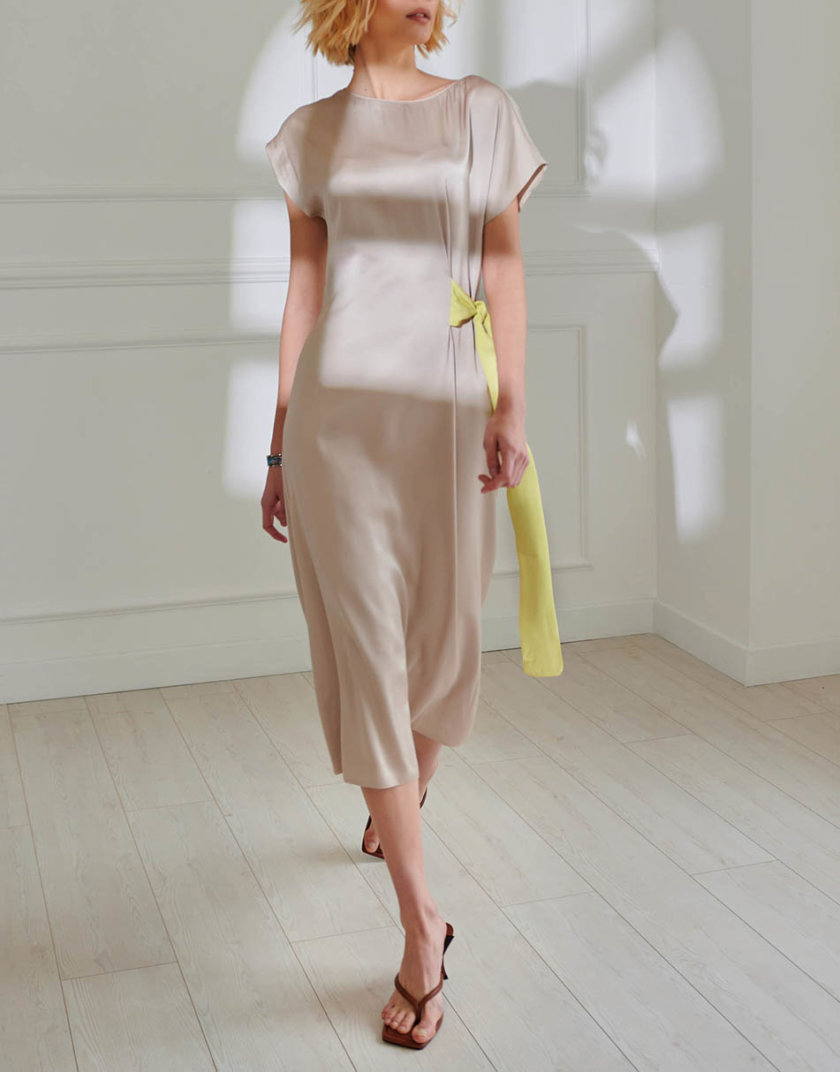 Хлопковое платье с поясом KLNA_SL-3, фото 1 - в интернет магазине KAPSULA