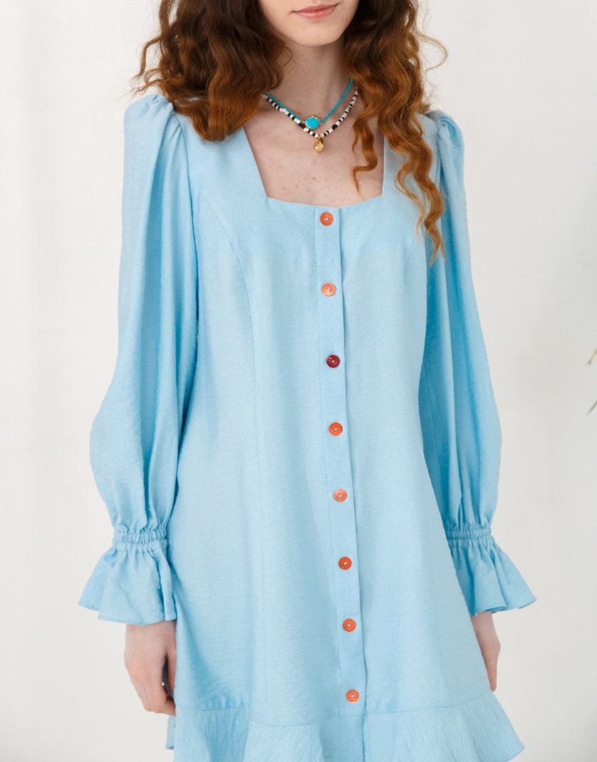Льняное платье с объемными рукавами VONA_SS-21-39, фото 1 - в интернет магазине KAPSULA