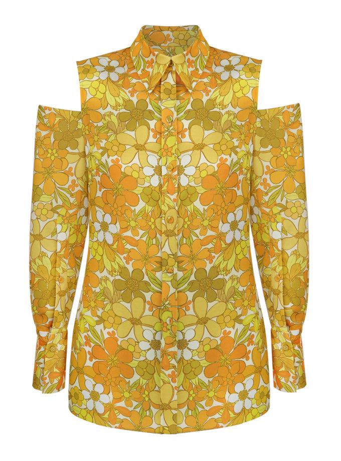 Блуза с открытыми плечами в принт SAYYA_SS1122-1, фото 1 - в интернет магазине KAPSULA