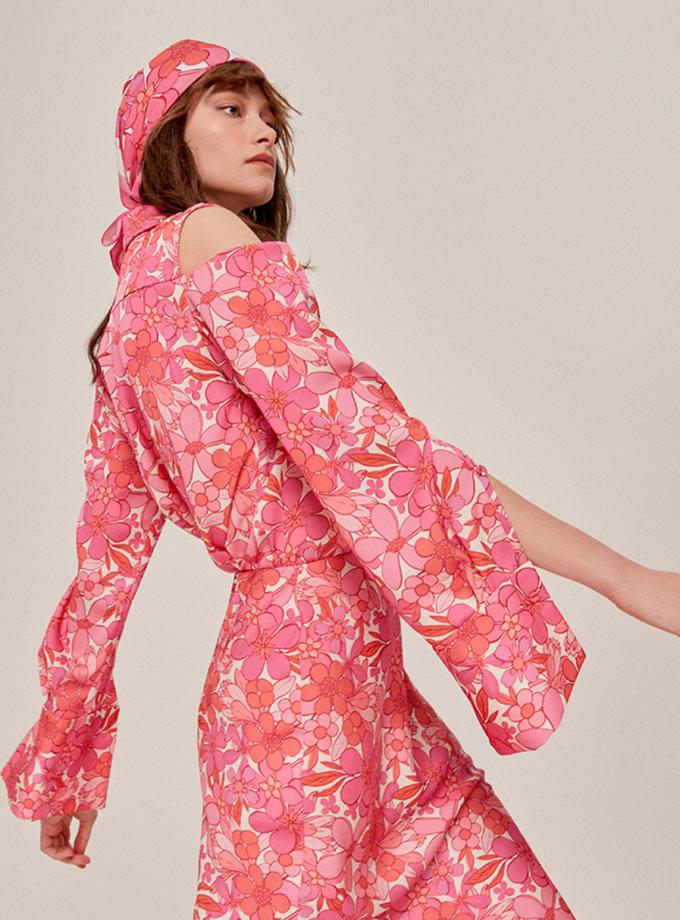 Блуза с открытыми плечами в принт SAYYA_SS1122, фото 1 - в интернет магазине KAPSULA
