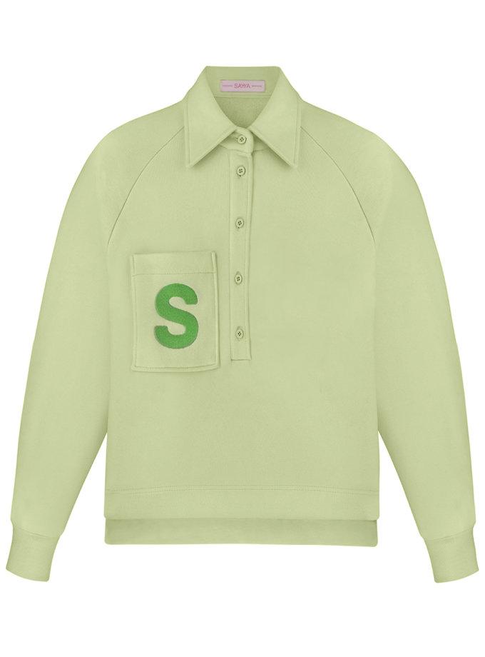 Хлопковый свитшот-поло SAYYA_SS1140-2, фото 1 - в интернет магазине KAPSULA