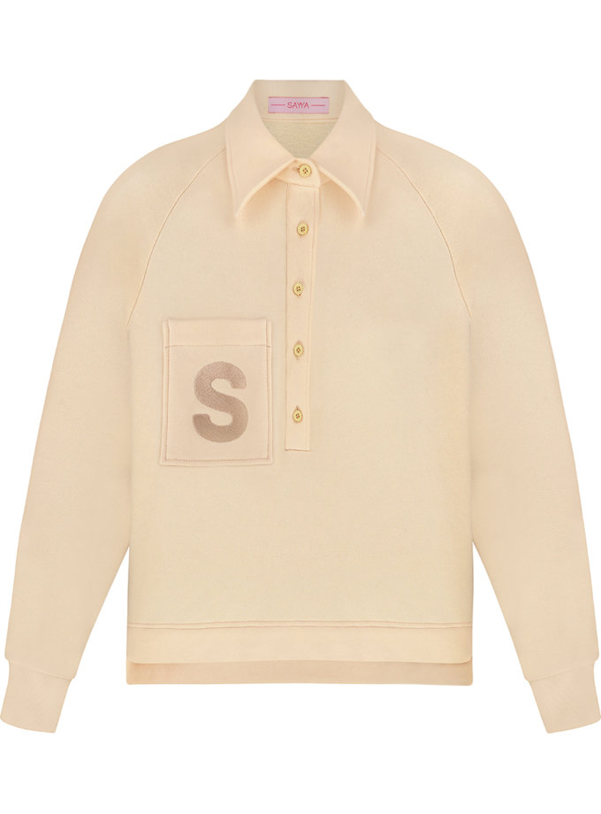 Хлопковый свитшот-поло SAYYA_SS1140-3, фото 1 - в интернет магазине KAPSULA