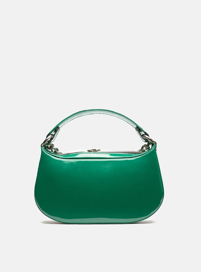 Кожаная сумка Saddle Bag in Deep Green Gloss SNKD_P0043S, фото 1 - в интернет магазине KAPSULA