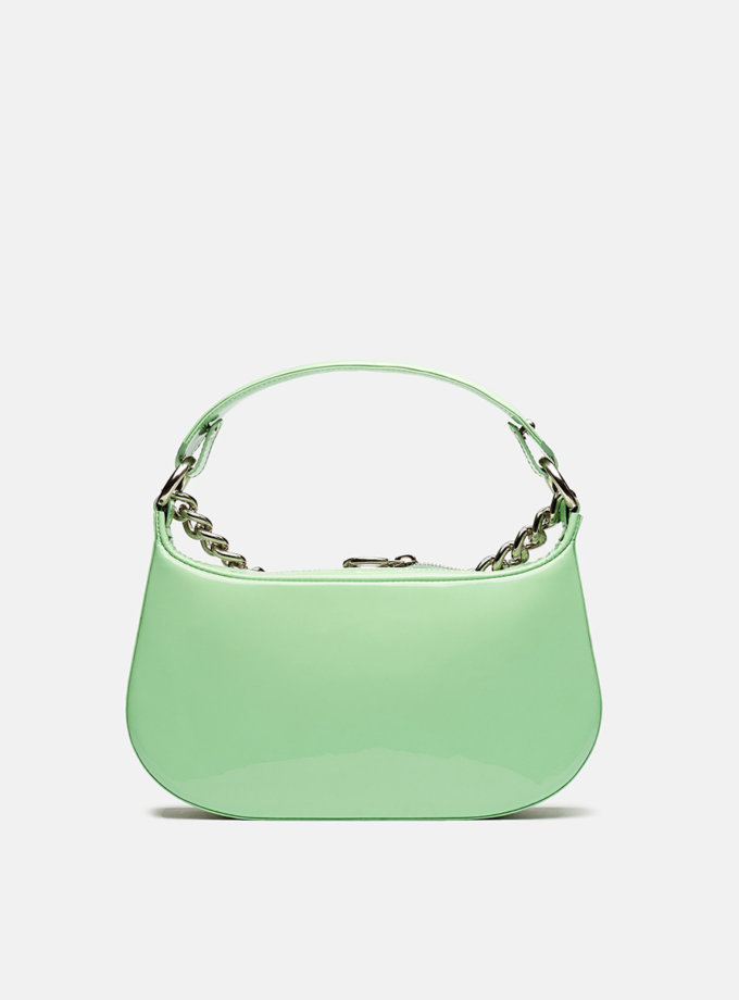Кожаная сумка Saddle Bag in Light Green Gloss SNKD_P0037S, фото 1 - в интернет магазине KAPSULA