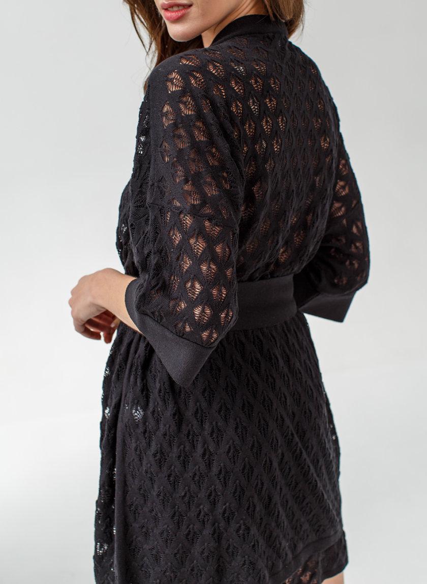 Хлопковый комплект кардиган с шортами NBL_2105-SUITKIMONOSHORTSBLACK, фото 1 - в интернет магазине KAPSULA