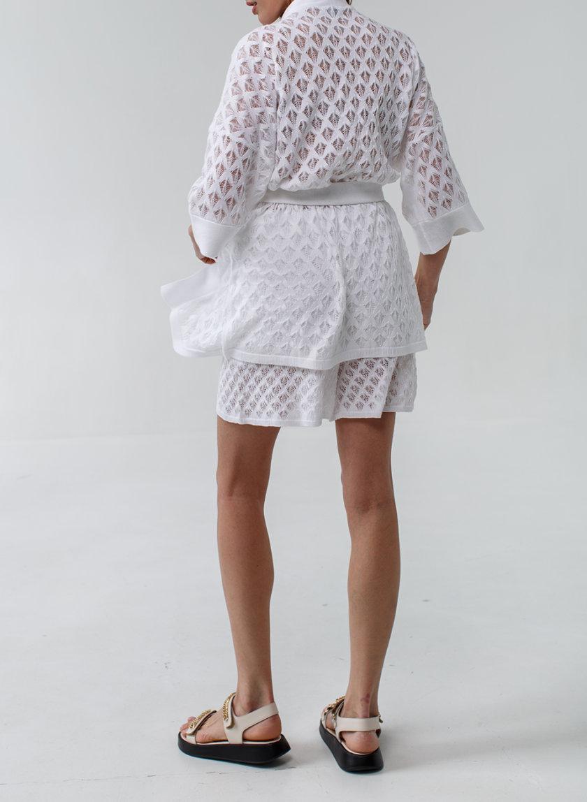 Хлопковый комплект кардиган с шортами NBL_2105-SUITKIMONOSHORTSWHITE, фото 1 - в интернет магазине KAPSULA