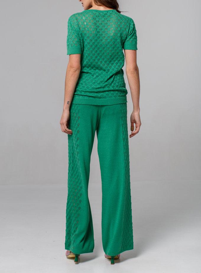 Ажурный комплект футболка и брюки NBL_2105-T-SHIRTTROUTHERGREEN, фото 1 - в интернет магазине KAPSULA