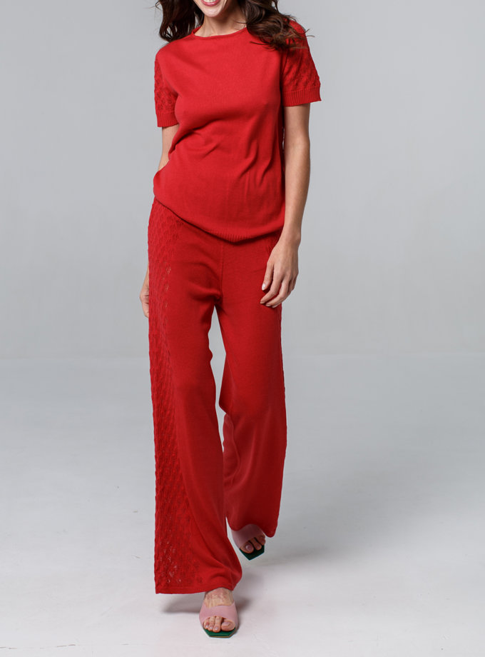 Ажурный комплект футболка и брюки NBL_2105-T-SHIRTTROUTHERSRED, фото 1 - в интернет магазине KAPSULA