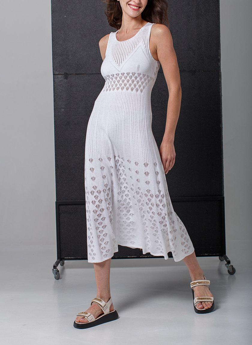 Ажурное платье без рукавов NBL_2103-DRESSLACEPETWHITE, фото 1 - в интернет магазине KAPSULA