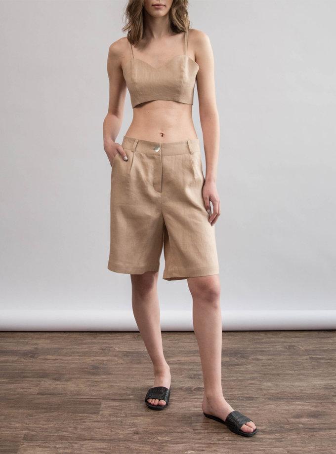 Льняные шорты ZHRK_zk000201-beige, фото 1 - в интернет магазине KAPSULA