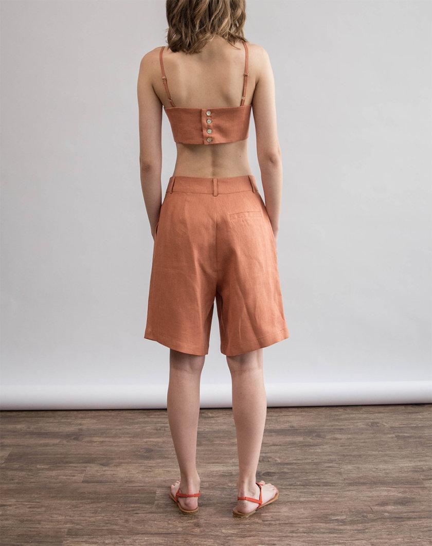 Льняные шорты ZHRK_zk000201-bronze, фото 1 - в интернет магазине KAPSULA