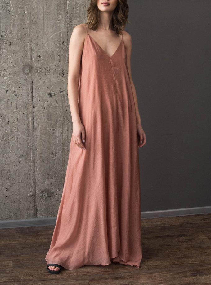 Хлопковое платье макси на тонких бретелях ZHRK_zkss210016-pink, фото 1 - в интернет магазине KAPSULA