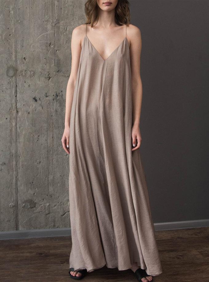 Хлопковое платье макси на тонких бретелях ZHRK_zkss210016-beige, фото 1 - в интернет магазине KAPSULA