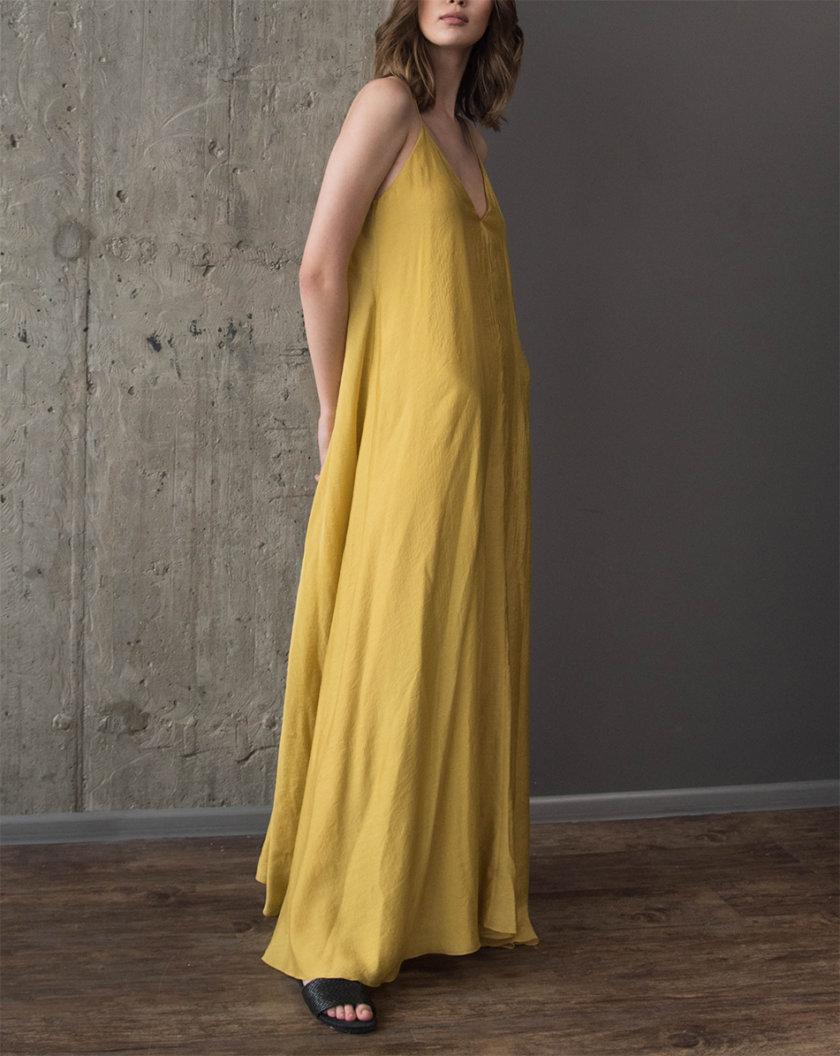 Хлопковое платье макси на тонких бретелях ZHRK_zkss210016-yellow, фото 1 - в интернет магазине KAPSULA