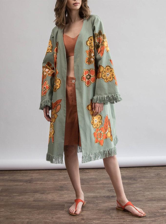 Хлопковое кимоно с вышитыми цветами ZHRK_zkss210003, фото 1 - в интернет магазине KAPSULA
