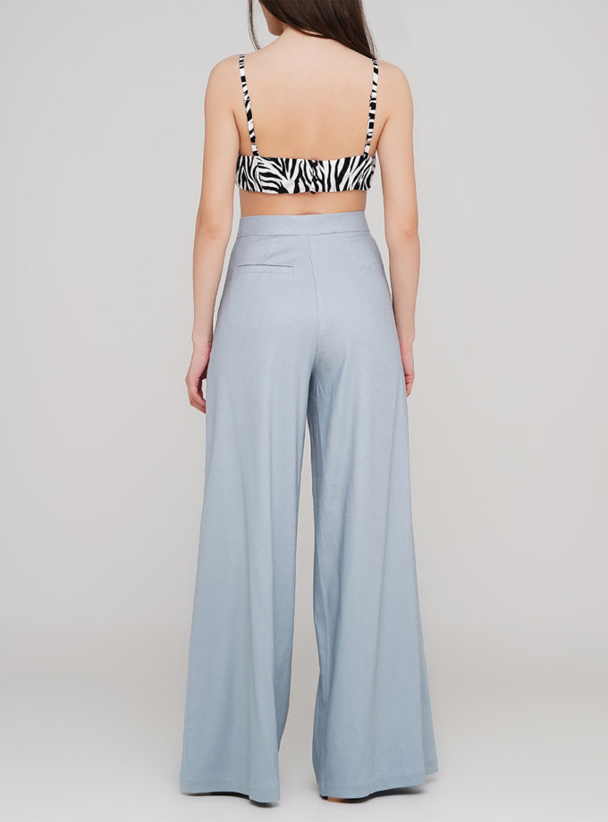 Льняные брюки с декоративной застежкой AY_3180, фото 1 - в интернет магазине KAPSULA