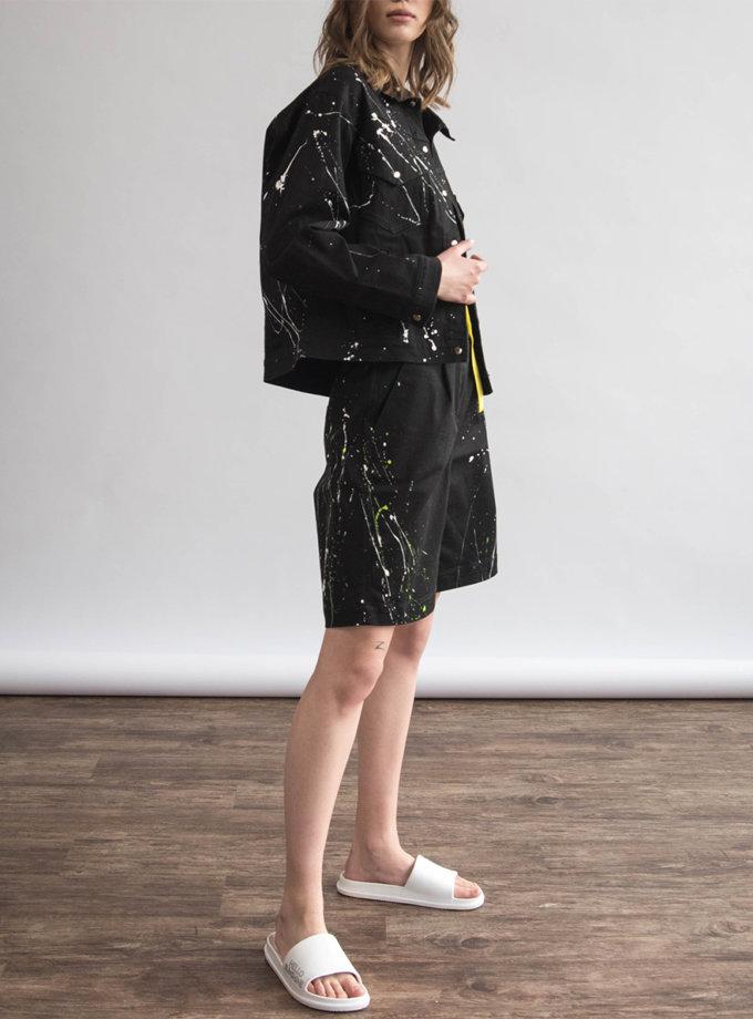 Хлопковая куртка с ручной росписью ZHRK_zkss210008-black, фото 1 - в интернет магазине KAPSULA