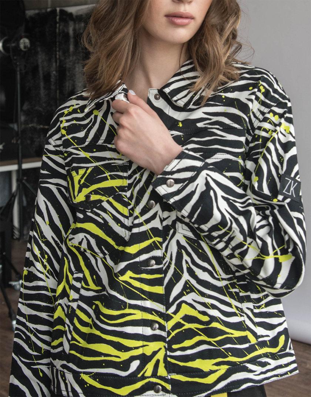 Хлопковая куртка с ручной росписью ZHRK_zkss210008-multi, фото 1 - в интернет магазине KAPSULA