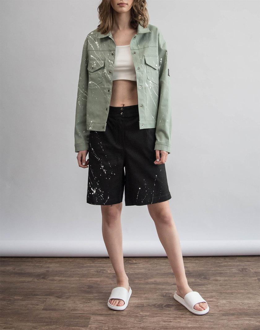 Хлопковая куртка с ручной росписью ZHRK_zkss210008-wormwood, фото 1 - в интернет магазине KAPSULA