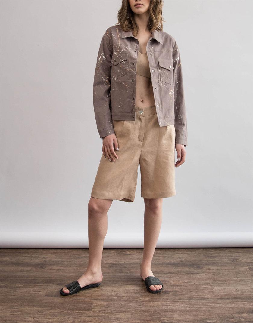 Хлопковая куртка с ручной росписью ZHRK_zkss210008-beige, фото 1 - в интернет магазине KAPSULA