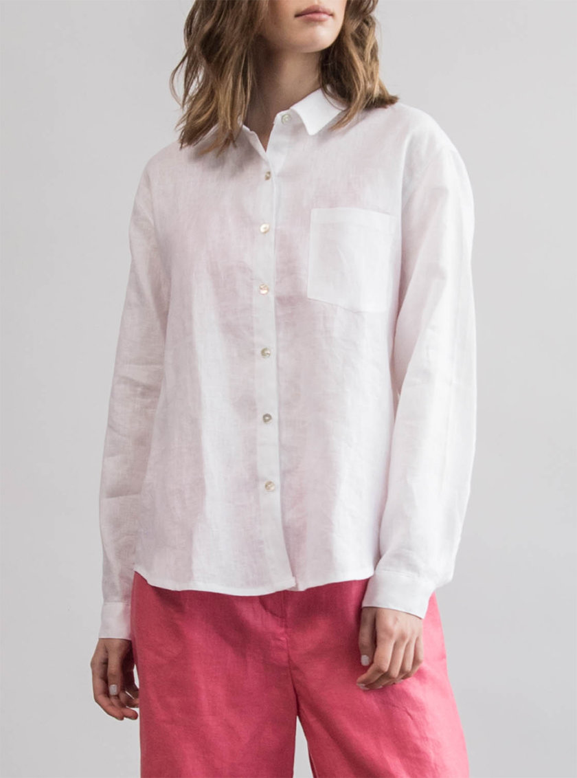 Льняная рубашка oversize ZHRK_zbasic0001wgb-white, фото 1 - в интернет магазине KAPSULA