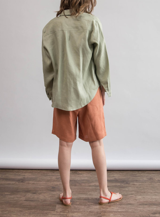 Льняная рубашка oversize ZHRK_zbasic0001wgb-wormwood, фото 1 - в интернет магазине KAPSULA