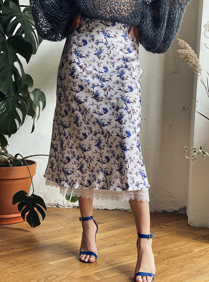 Юбка в цветы с кружевом WN_AIM_151, фото 1 - в интернет магазине KAPSULA