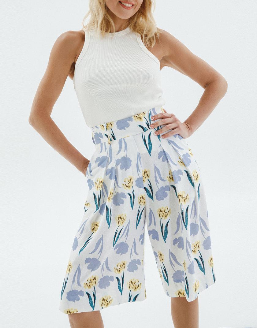 Льняные шорты-бермуды в цветочном принте IP_BA10069, фото 1 - в интернет магазине KAPSULA