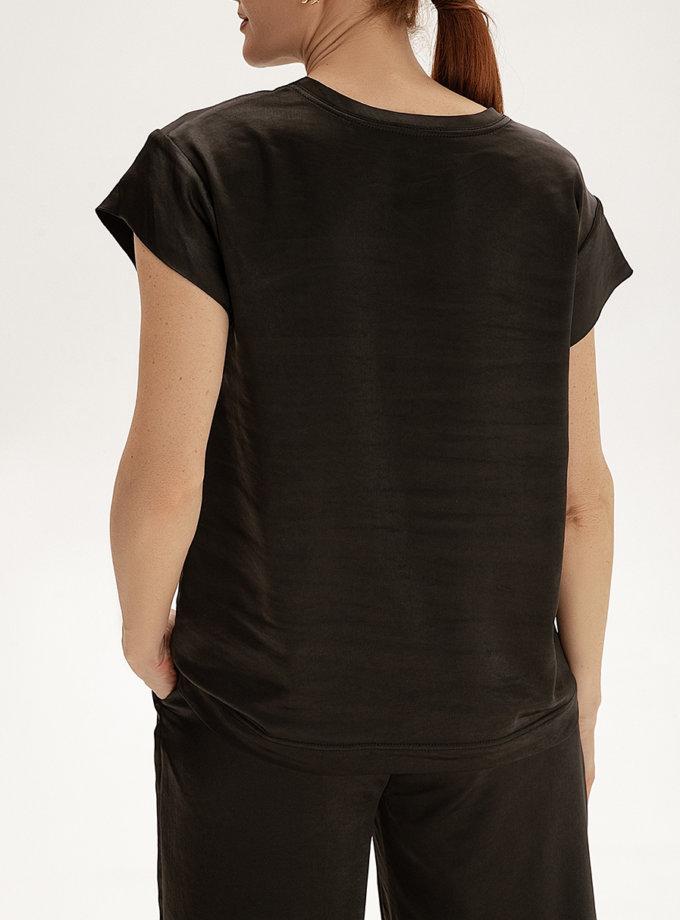 Сатиновый топ с вышивкой WNDR_ss21_sblck_01, фото 1 - в интернет магазине KAPSULA