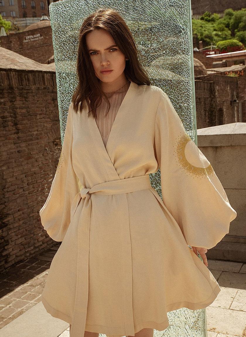 Льняное платье мини на запах WNDR_ss21_lml_12-KAPSULA, фото 1 - в интернет магазине KAPSULA