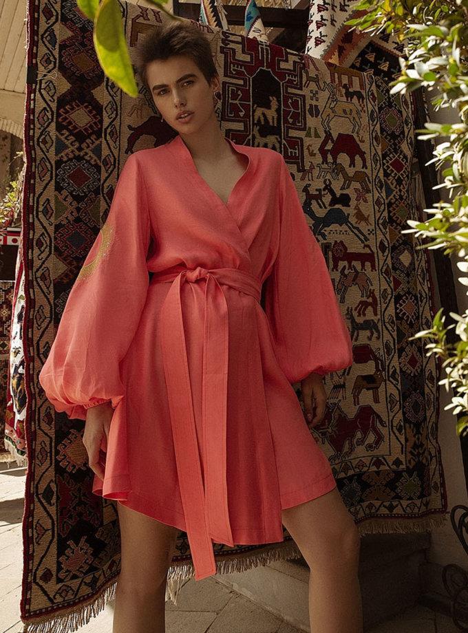 Льняное платье мини на запах WNDR_ss21_lc_12, фото 1 - в интернет магазине KAPSULA