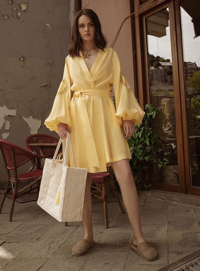 Льняное платье мини на запах WNDR_ss21_lye_12, фото 1 - в интернет магазине KAPSULA