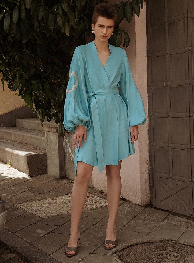 Льняное платье мини на запах WNDR_ss21_lbi_12, фото 1 - в интернет магазине KAPSULA