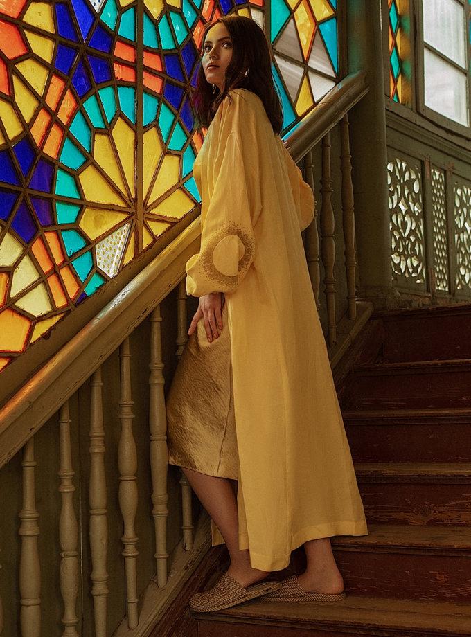 Длинное кимоно из льна WNDR_ss21_lye_02, фото 1 - в интернет магазине KAPSULA