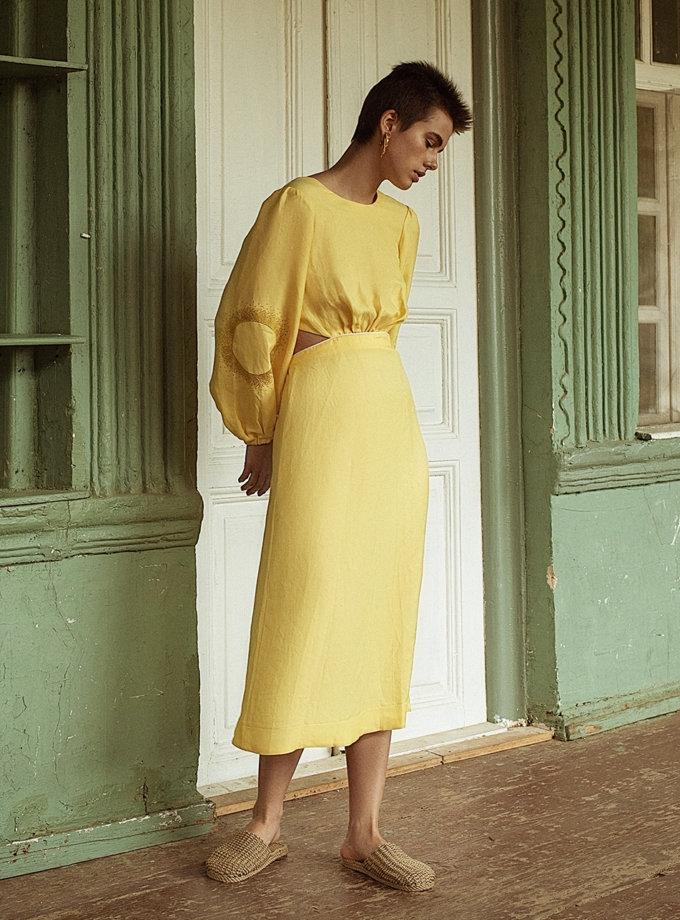 Платье миди из льна WNDR_ss21_lye_10, фото 1 - в интернет магазине KAPSULA