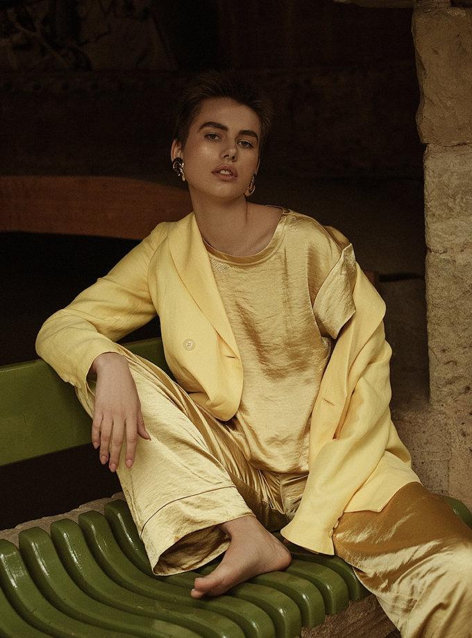 Сатиновые брюки свободного кроя WNDR_ss21_sye_02, фото 1 - в интернет магазине KAPSULA