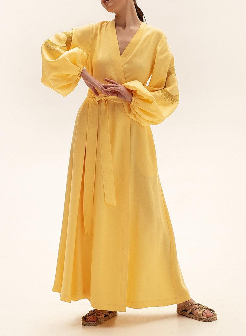 Льняное платье макси на запах WNDR_ss21_lye_11, фото 1 - в интернет магазине KAPSULA