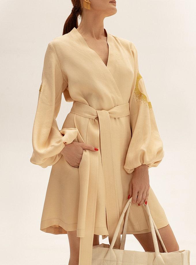 Льняное платье мини на запах WNDR_ss21_lml_12, фото 1 - в интернет магазине KAPSULA