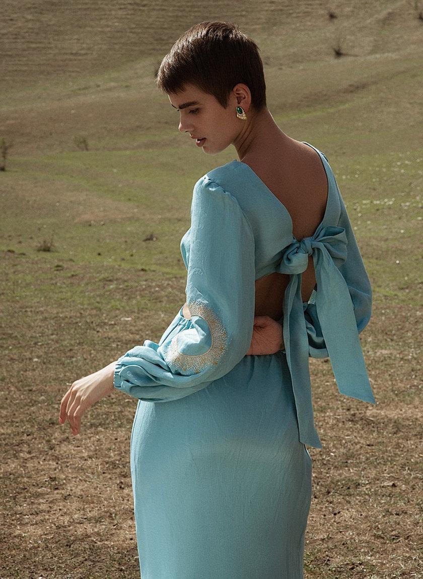 Платье миди из льна WNDR_ss21_lbi_10, фото 1 - в интернет магазине KAPSULA