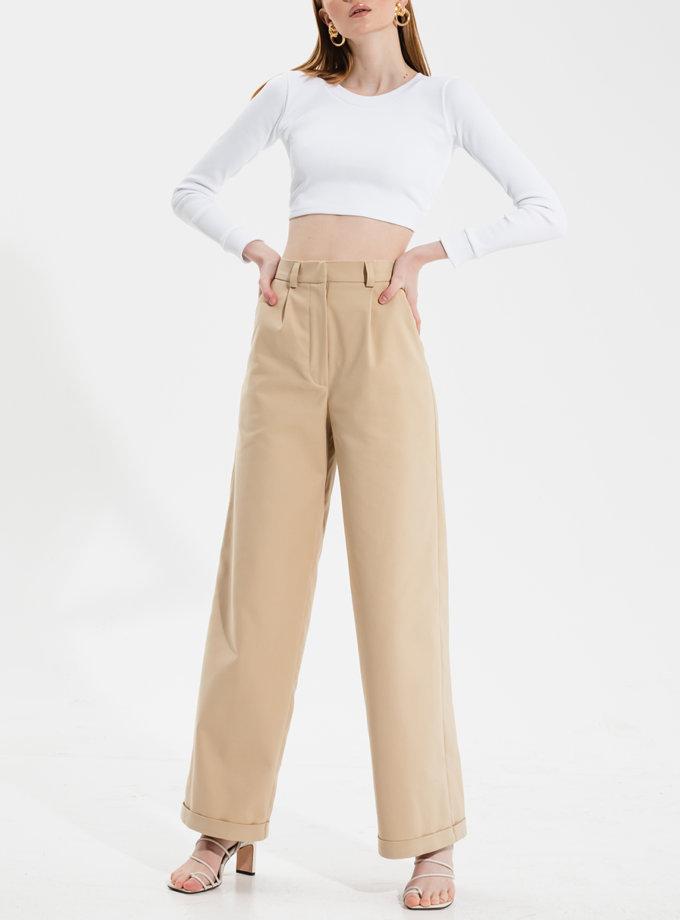 Широкие штаны с манжетом RVR_RESS21-2022BG, фото 1 - в интернет магазине KAPSULA