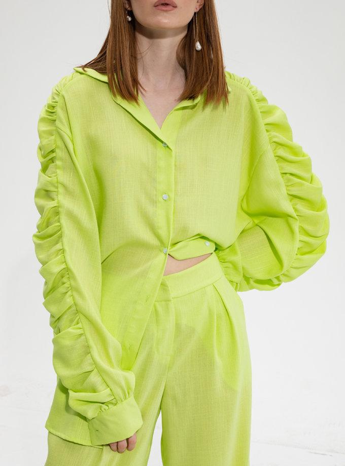 Рубашка свободного кроя с драпировкой RVR_RESS21-2011LGN, фото 1 - в интернет магазине KAPSULA
