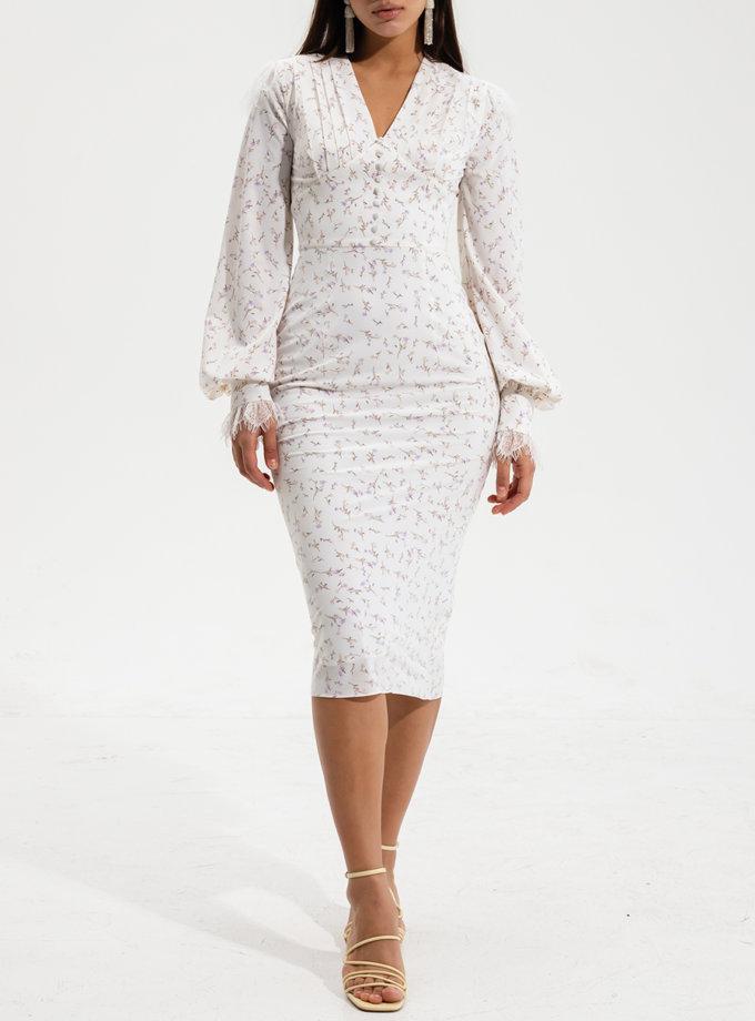 Платье миди с кружевом RVR_RESS2021-2023WHFL, фото 1 - в интернет магазине KAPSULA