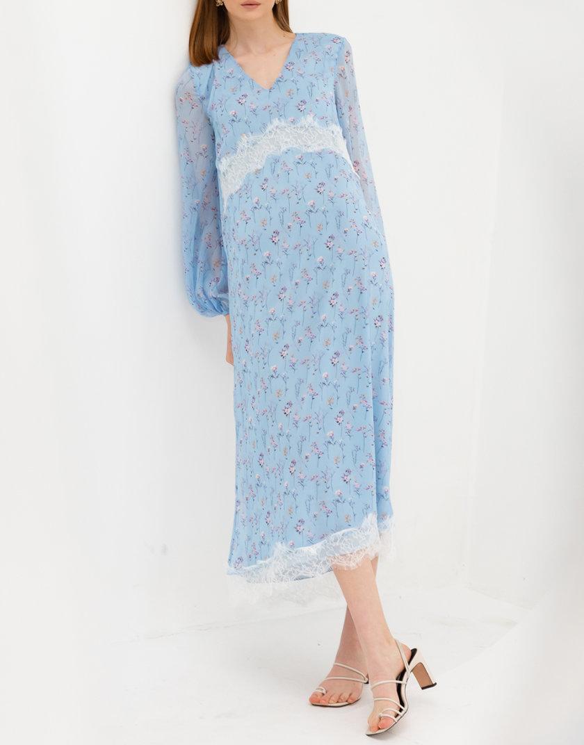 Шифоновое платье миди RVR_RESS21-2031BLFL, фото 1 - в интернет магазине KAPSULA